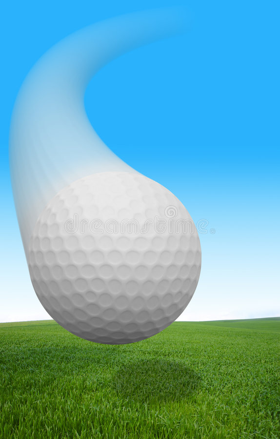 Esfera de golfe do vôo fotos de stock royalty free