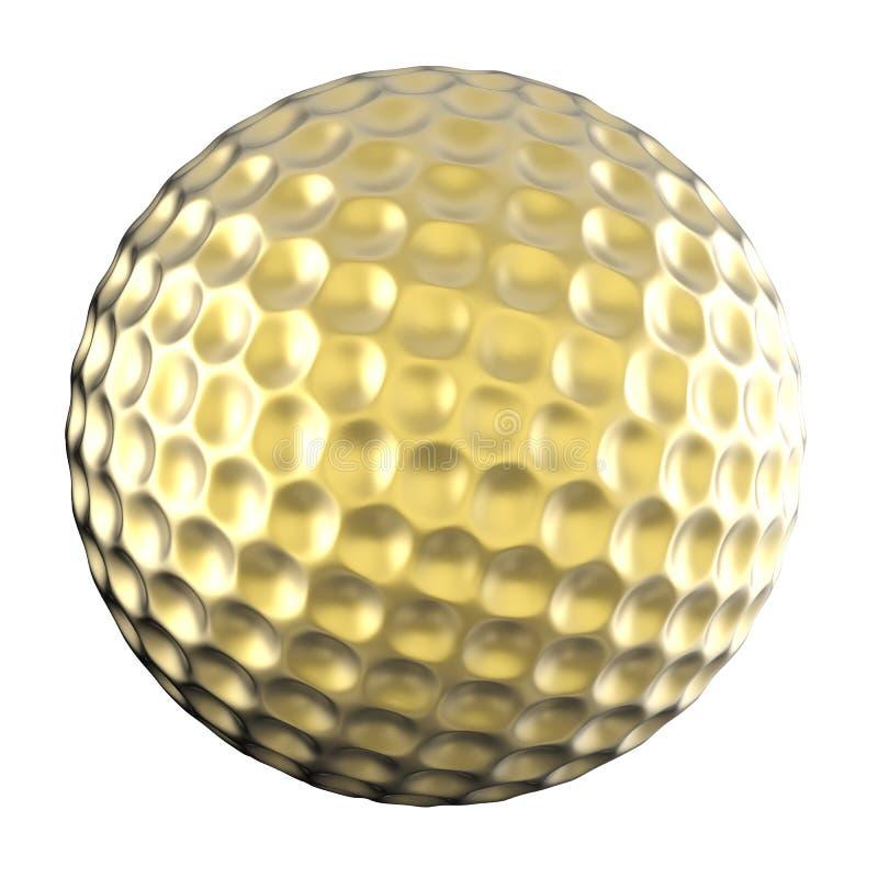 Esfera de golfe dourada isolada no branco fotos de stock