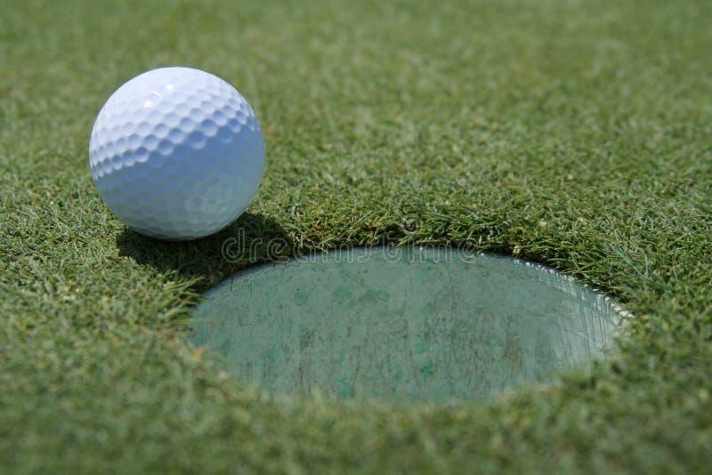 Esfera de golfe no copo fotografia de stock royalty free