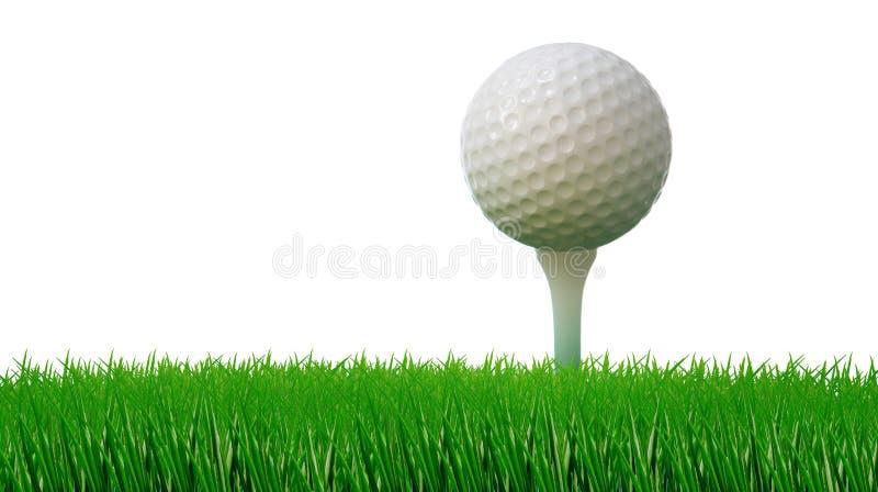 Esfera de golfe no T e grama verde como a terra fotos de stock royalty free