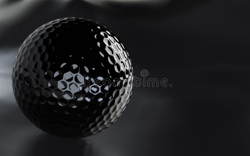 Esfera de golfe preta, lustrosa com canaleta alfa. ilustração stock
