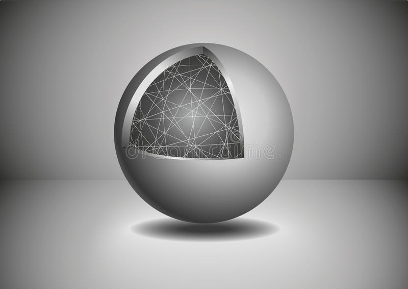 Esfera de Gray Abstract 3D Ilustração do vetor ilustração do vetor