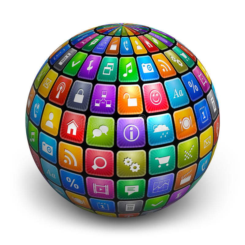 Esfera de iconos de la aplicación del color stock de ilustración