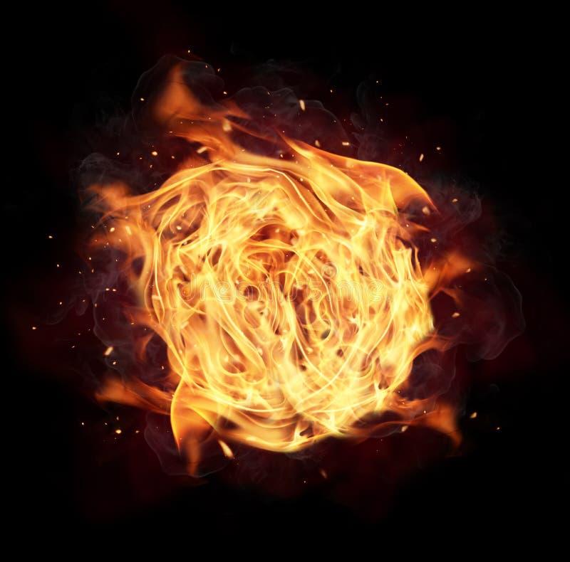 Esfera de incêndio isolada no fundo preto fotografia de stock royalty free