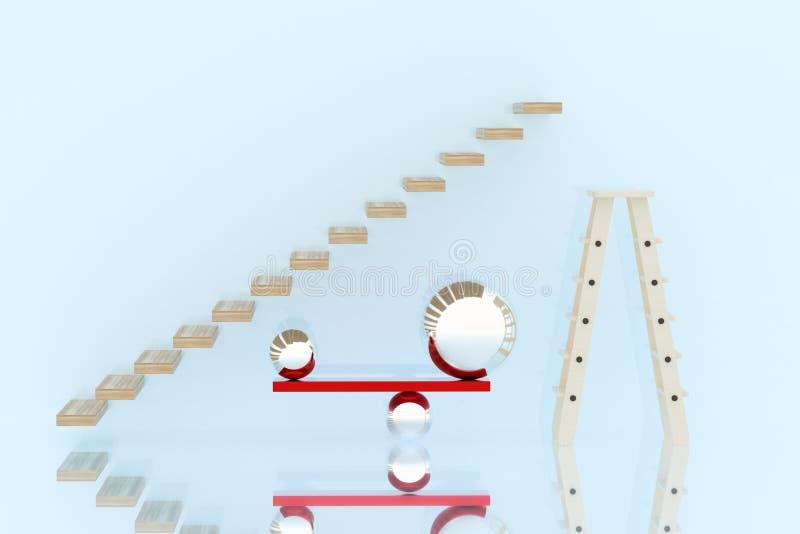 Esfera de la escalera y de la escalera y del metal en equilibrio foto de archivo libre de regalías