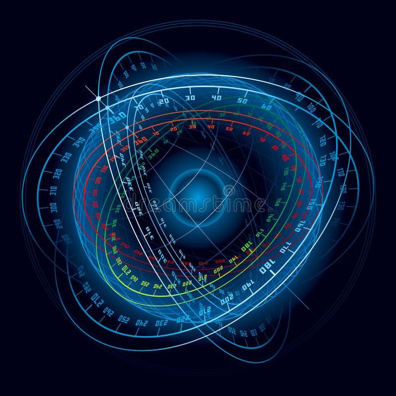Esfera de la navegación de espacio de la fantasía. ilustración del vector