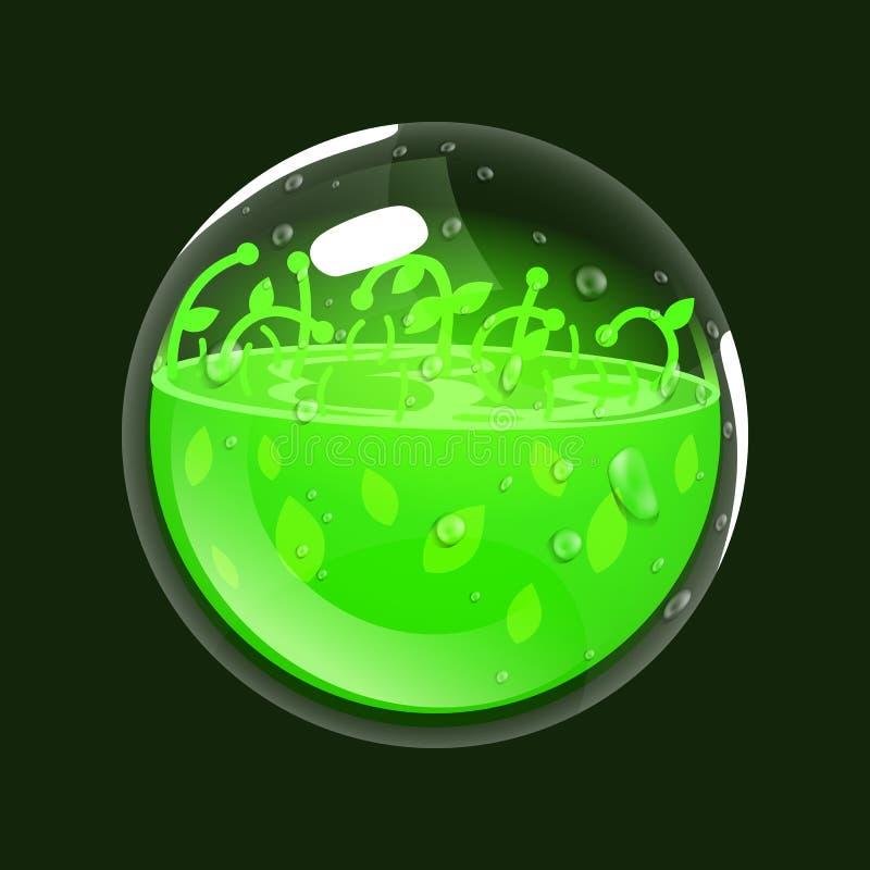 Esfera de la vida Icono del juego del orbe mágico Interfaz para el juego RPG o match3 Salud o naturaleza Variante grande stock de ilustración