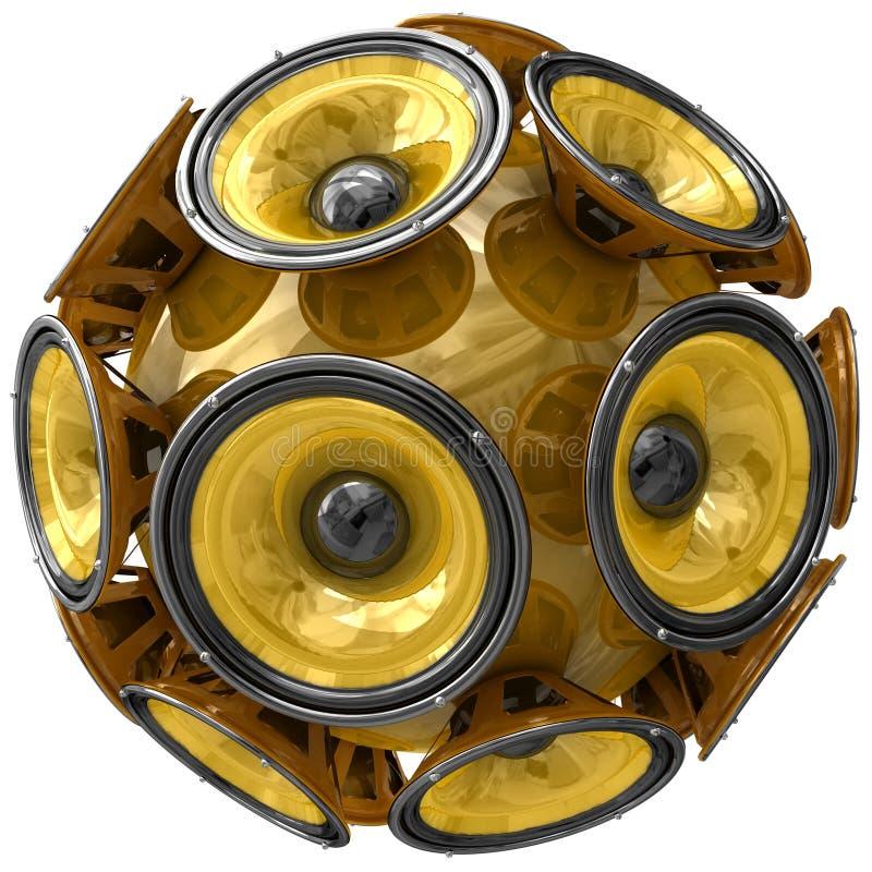Esfera de los altavoces de audio aislada en blanco ilustración del vector
