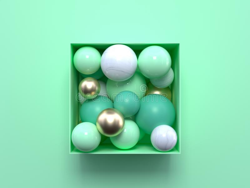 Esfera de mármore branca da caixa do quadrado/cubo da rendição 3d do ouro geométrico pastel verde macio liso da forma do sumário  ilustração do vetor