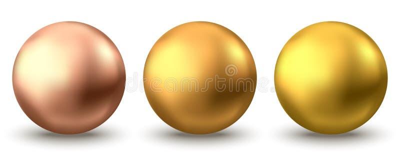Esfera de ouro ou bolha de óleo isolada em fundo branco ilustração stock