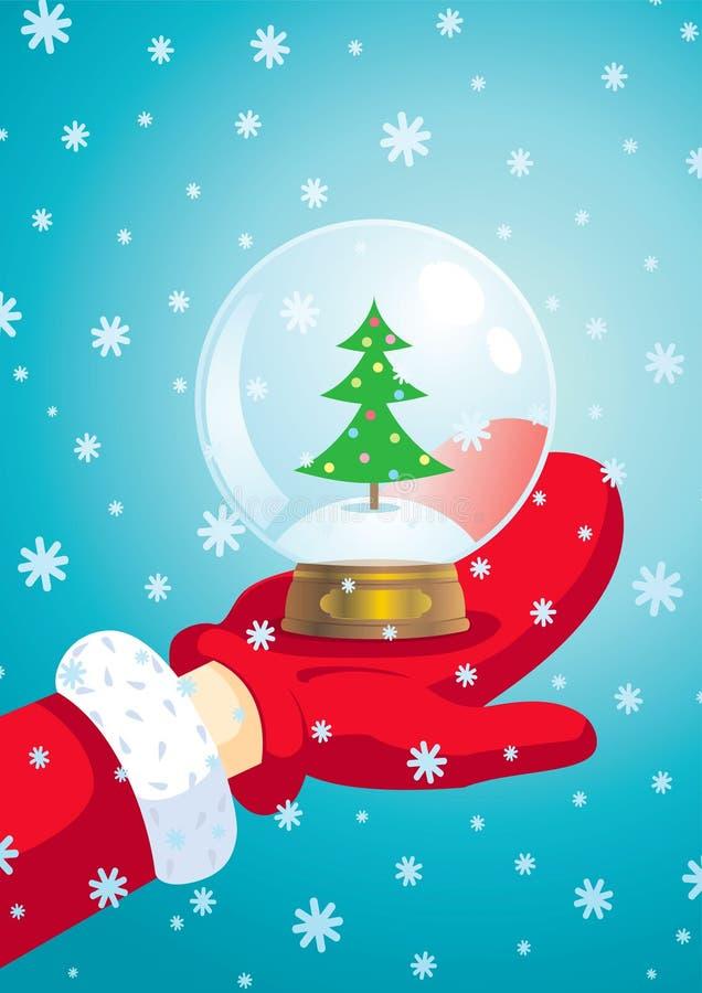 Esfera de Papai Noel e de neve ilustração royalty free