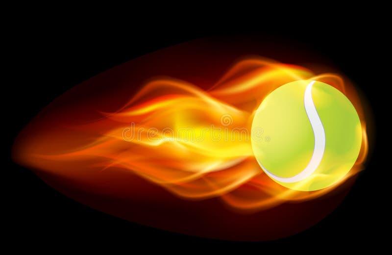 Esfera de tênis flamejante ilustração stock