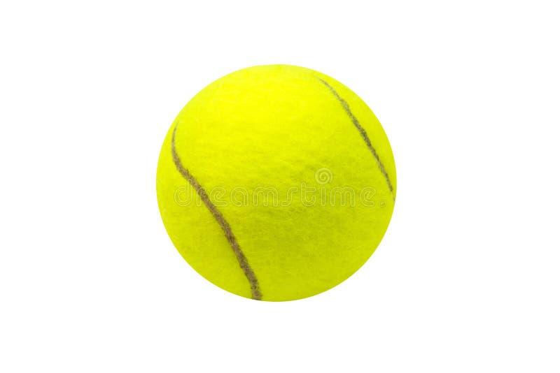 Esfera de tênis no fundo branco Bola de tênis isolada Bola de feltro do amarelo com linha marrom da curva imagem de stock