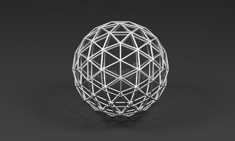 Esfera de triângulos do metal no fundo cinzento - ilustração 3D ilustração stock
