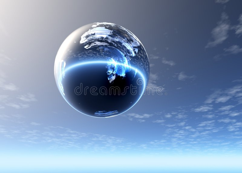 Esfera de vidro altamente no céu fotos de stock royalty free