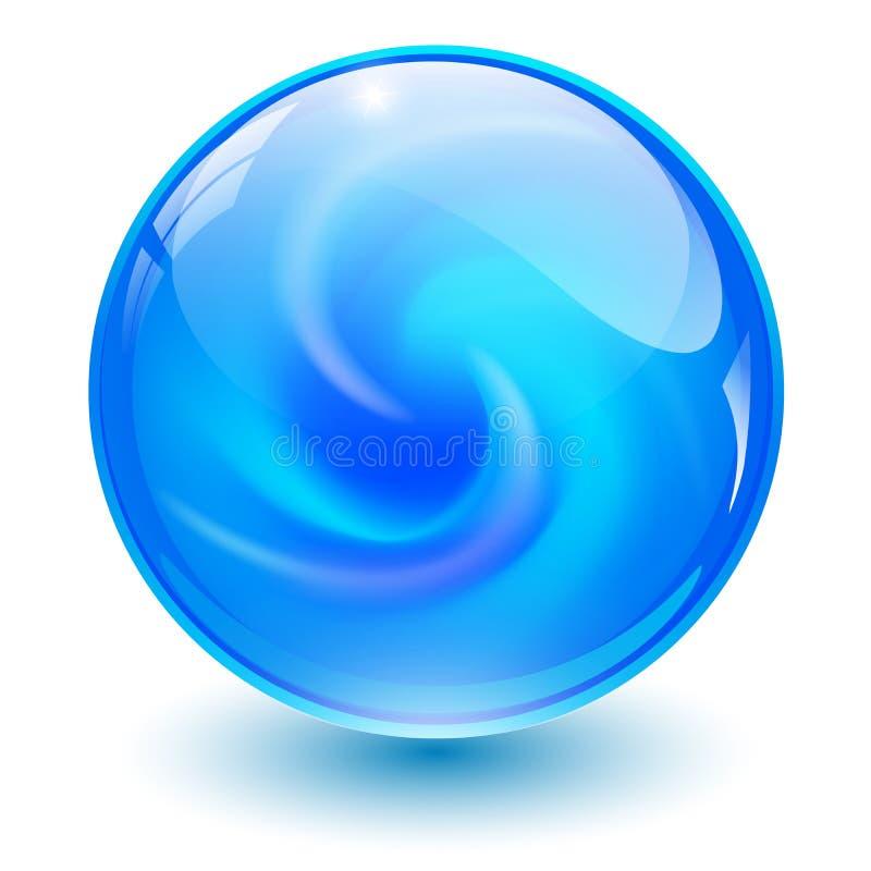 Esfera de vidro azul ilustração stock