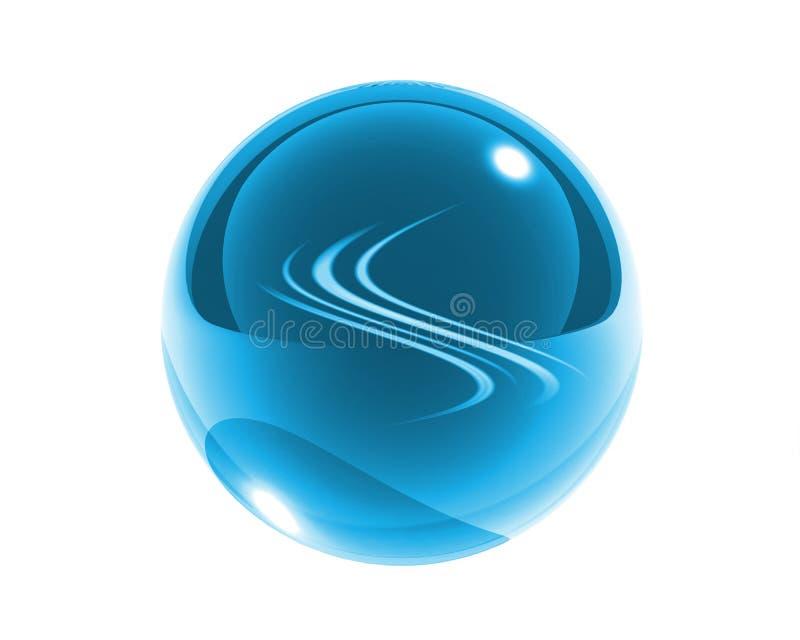 Esfera de vidro azul com ondas azuis ilustração royalty free