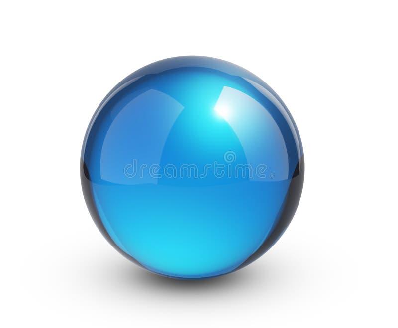 Esfera de vidro azul no branco com sombra ilustração do vetor