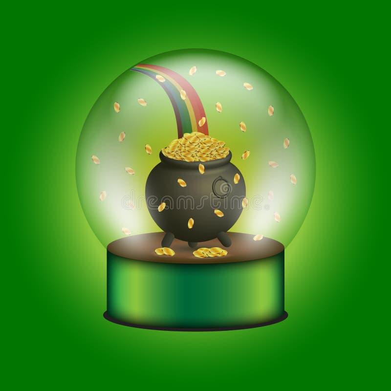 Esfera de vidro com caldeirão completamente de moedas e de arco-íris de ouro ilustração do vetor