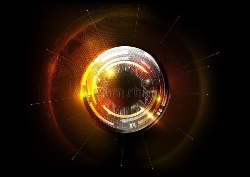 Esfera de vidro do globo futurista da tecnologia no conceito da globalização do holograma, teste padrão do hexágono do mapa do mu ilustração royalty free