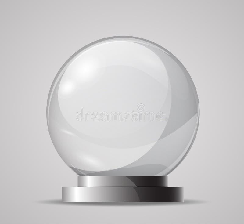 Esfera de vidro em um suporte Molde para a bola mágica, lembrança Esfera de vidro vazia Bola de cristal para caixas de fortuna VE ilustração royalty free