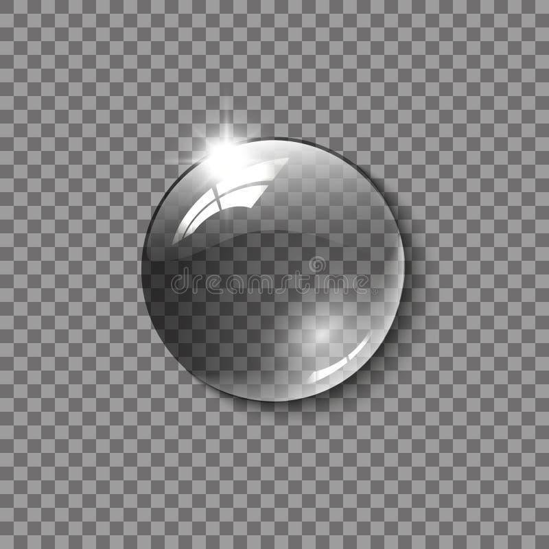 Esfera de vidro realística, uma gota da água em um fundo transparente Ilustração do vetor ilustração royalty free