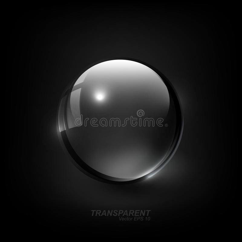 Esfera de vidro transparente brilhante moderna com sombra no fundo do preto escuro, ilustração do vetor ilustração do vetor