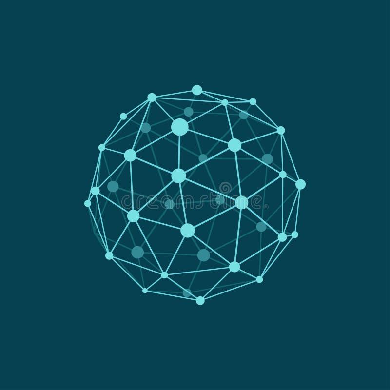 Esfera de Wireframe en fondo azul marino Objeto poligonal abstracto con las líneas y los puntos conectados Colores planos ilustración del vector