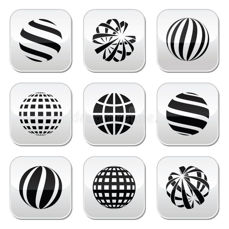 Esfera del globo, botones de la tierra fijados stock de ilustración
