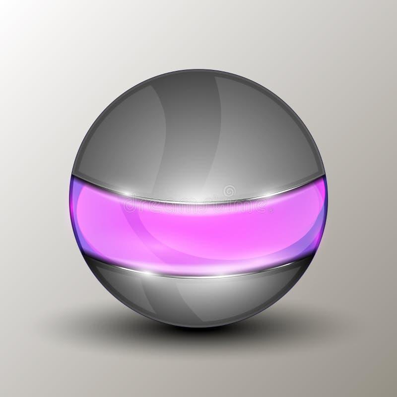 Esfera del metal con la línea púrpura stock de ilustración