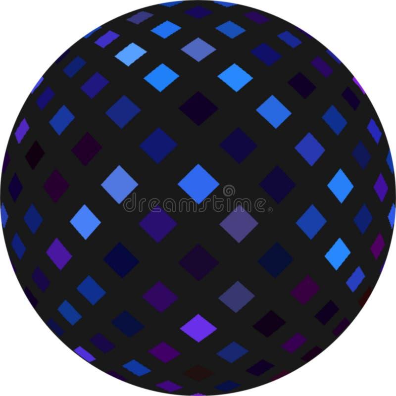 esfera del negro 3d con el modelo de mosaico que destella azul Bola del disco stock de ilustración