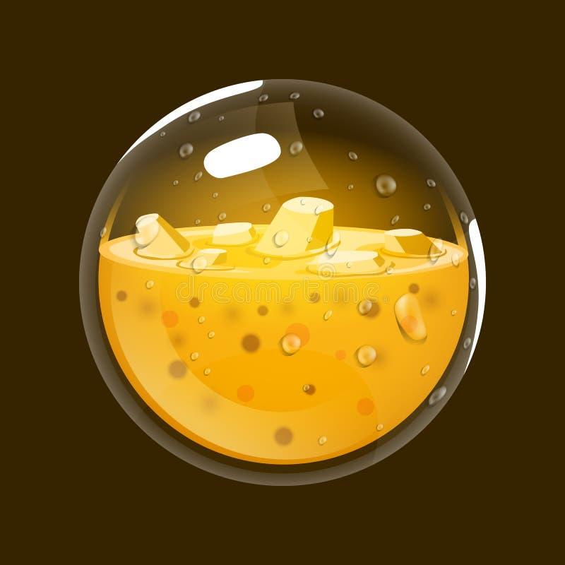 Esfera del oro Icono del juego del orbe mágico Interfaz para el juego RPG o match3 oro Variante grande stock de ilustración