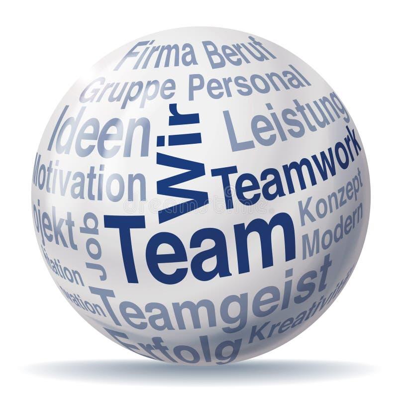 Esfera del trabajo en equipo y del equipo stock de ilustración