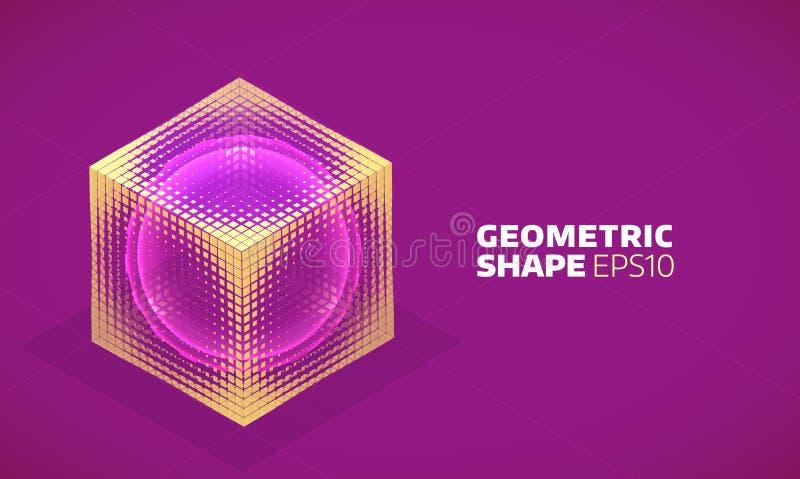 Esfera del vector en holograma isométrico del cubo Forma plana geométrica abstracta stock de ilustración