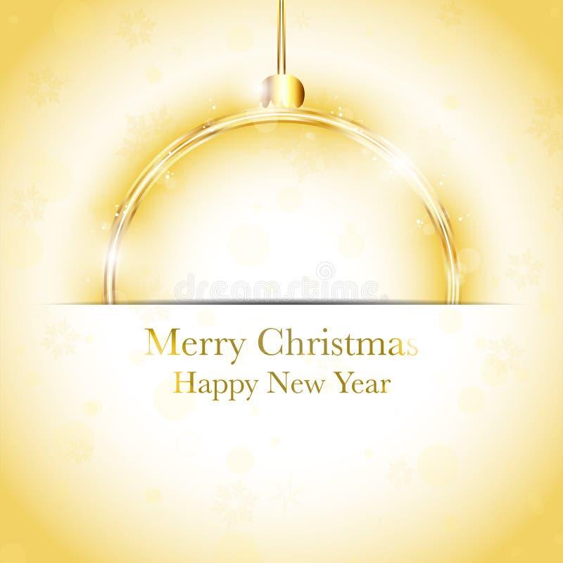 Esfera do ano novo feliz do Feliz Natal dourada ilustração stock