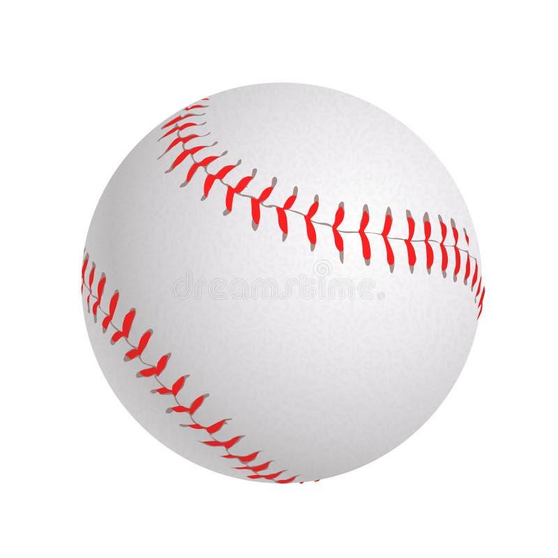 Esfera do basebol no branco ilustração stock