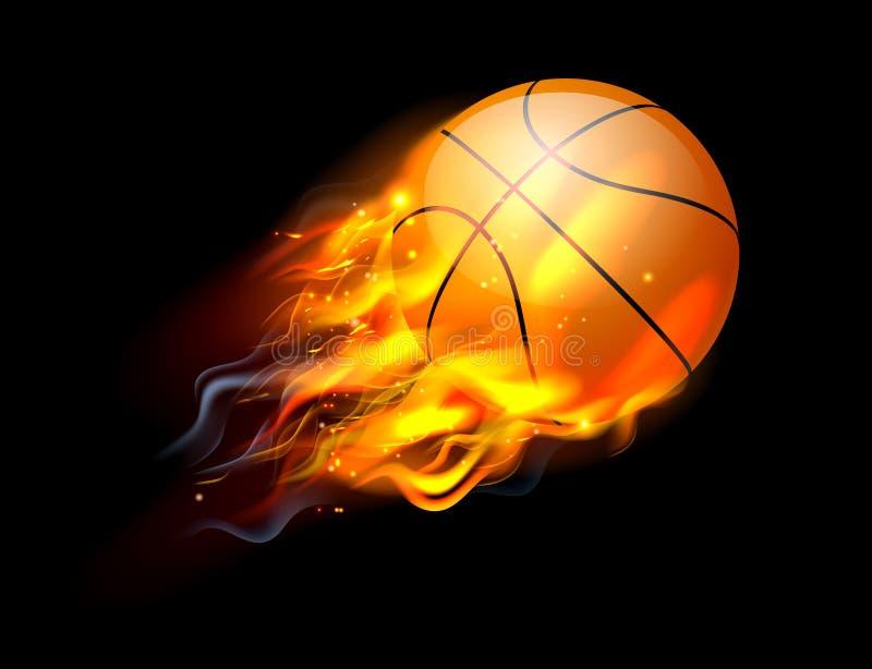 Esfera do basquetebol no incêndio ilustração stock
