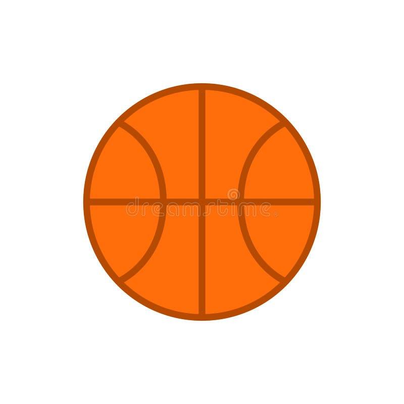Esfera do basquetebol Vector o ícone da bola do basquetebol isolado no fundo branco Vetor liso ilustração stock