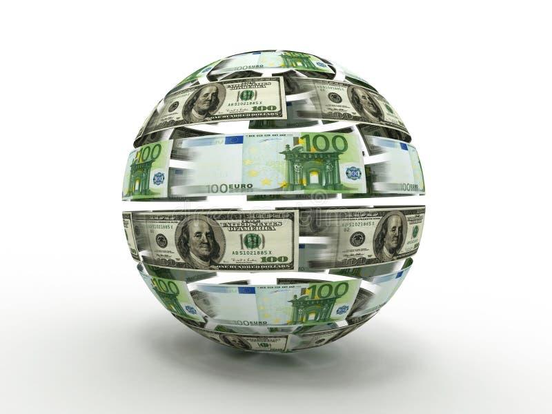 Esfera do dólar e do euro ilustração royalty free