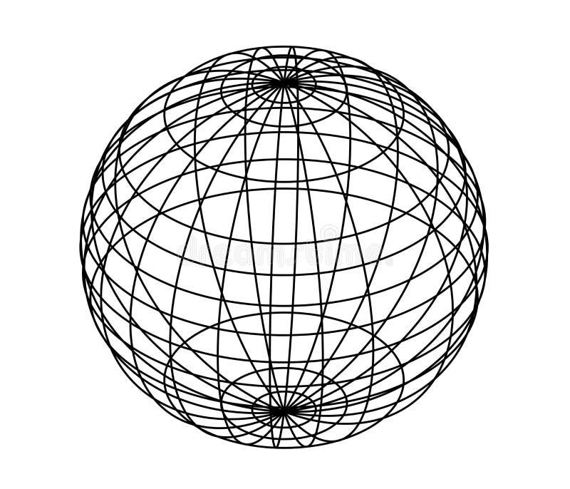 Esfera do desenho, globo ilustração stock