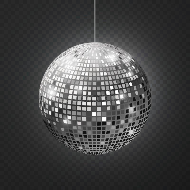 Esfera do disco do espelho Do equipamento de prata do brilho do partido de disco da reflexão do intradorso raios retros espelhado ilustração stock