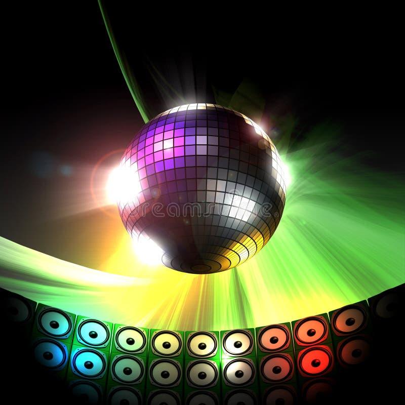 Esfera do disco no clube da música ilustração stock