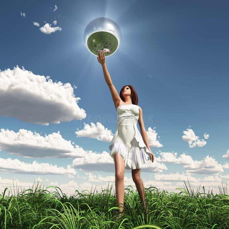 Esfera do espelho da terra arrendada da mulher ilustração do vetor
