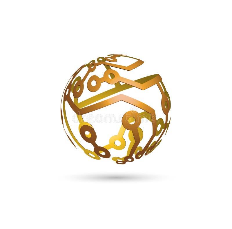 Esfera do esquema eletrônico 3D ilustração royalty free