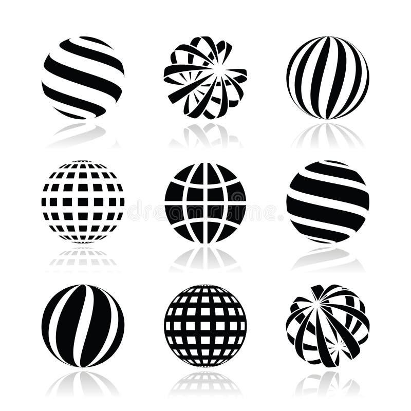 Esfera do globo, ícones da terra ajustados ilustração do vetor