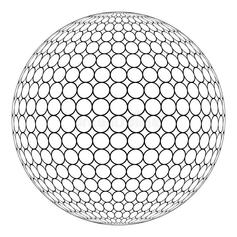 Esfera do globo 3D com malha na superfície, vetor do anel da estrutura redonda da esfera ilustração stock