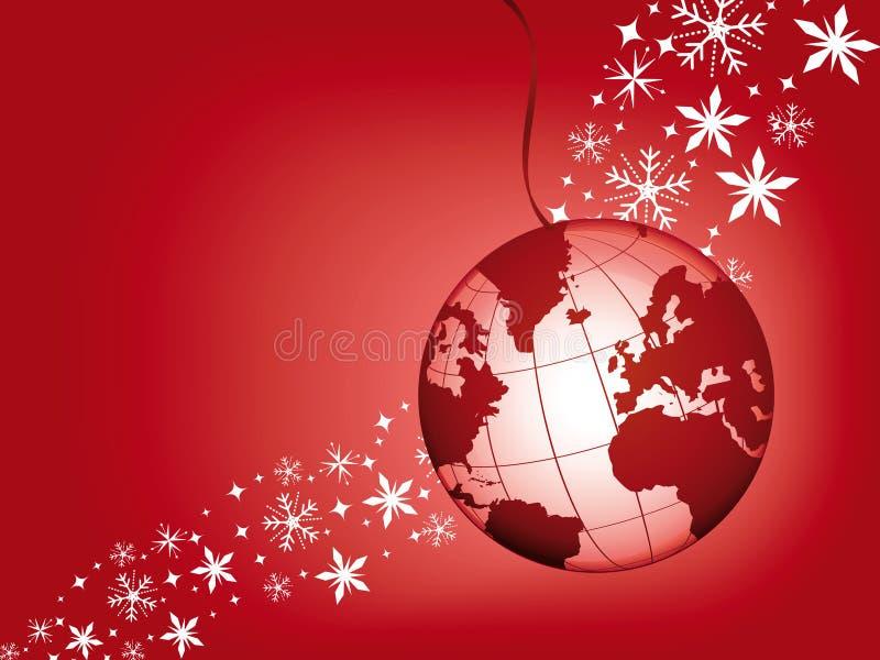 Esfera do globo em um fundo vermelho do Natal. ilustração stock