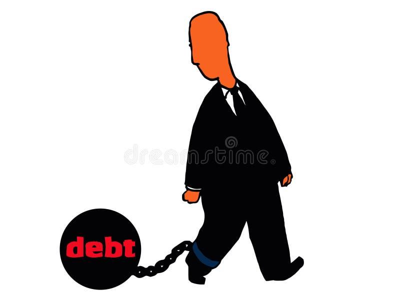 Esfera do homem e corrente de arrasto do débito ilustração do vetor