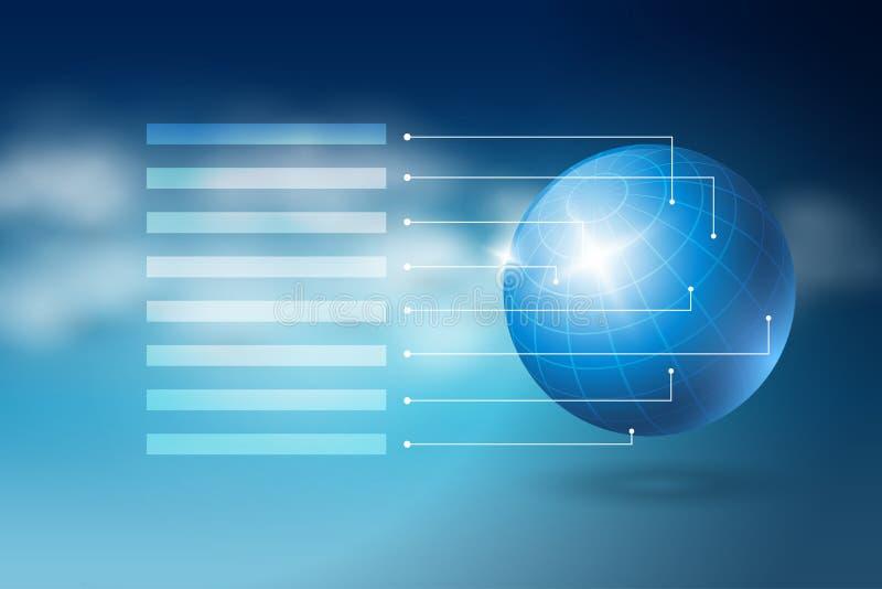 Esfera do mundo no céu cloudly azul ilustração stock