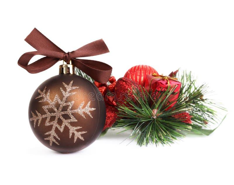Esfera do Natal com decoração imagem de stock royalty free